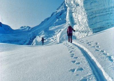 Im Zwillingsgletscher, Aufstieg zum Castor (4.228 m), 1983