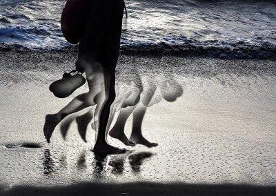 Am Strand, Mehrfachbelichtung